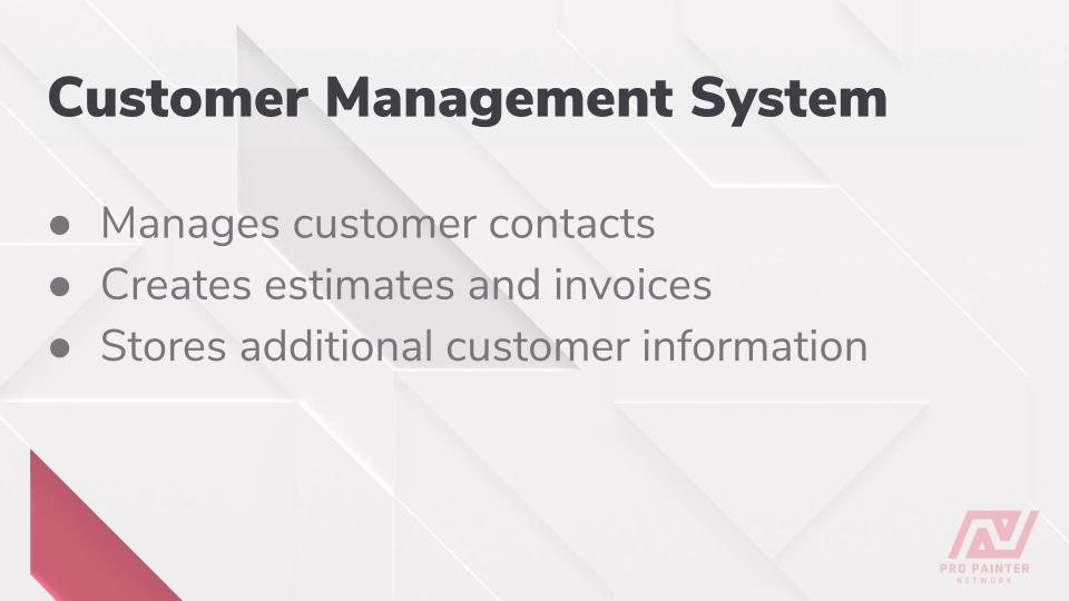 webinar slide labelled customer management system with bullet points referring to managing contacts, creating estimate, and storing customer information